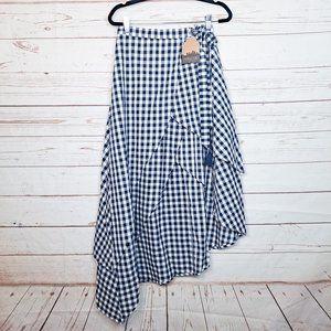 Main Strip Navy Gingham Hi Low Skirt Tassels Med